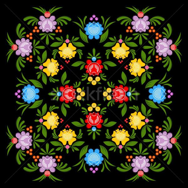 Pittura pattern floreale ornamento russo tradizionale Foto d'archivio © MaryValery