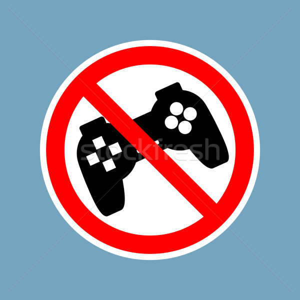 Stock photo: Stop video games. Ban Gamepad red sign. Prohibited joystick. Vin