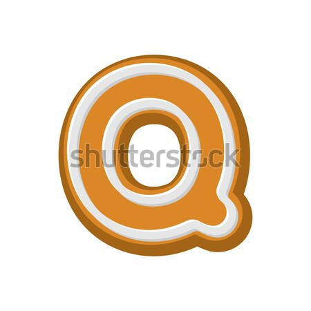 Letter Q Gingerbread. Peppermint honey-cake font. Cookies alphab Stock photo © MaryValery