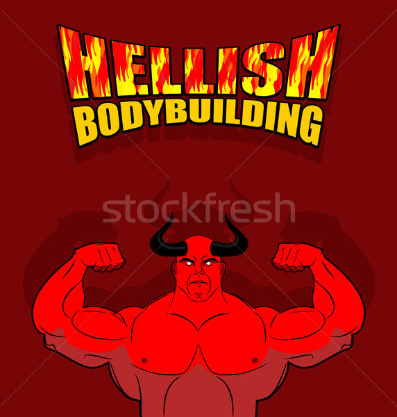 Bodybuilding satan groot spieren fitness hel Stockfoto © MaryValery