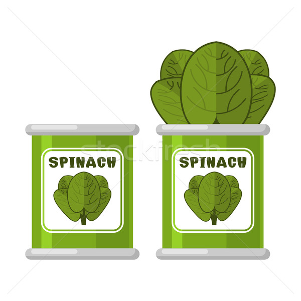 Spinach in tin. Useful Herbs. Green lettuce leaves. Dietary vege Stock photo © MaryValery