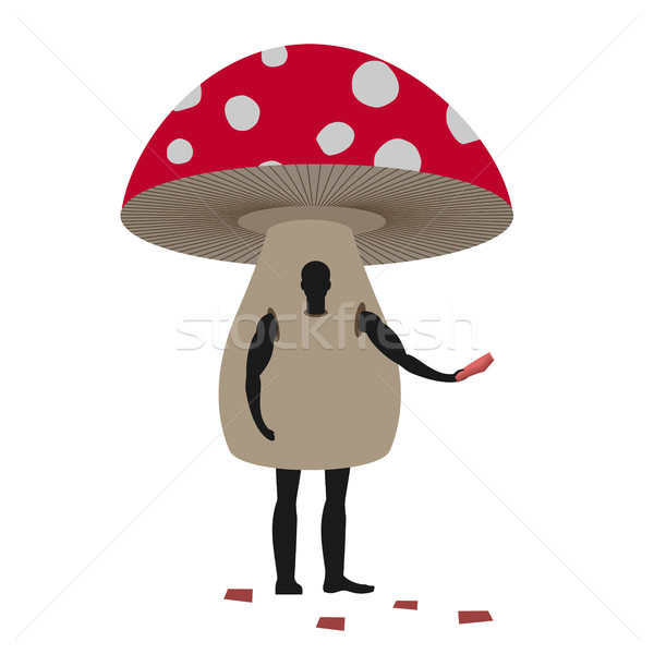 Mushroom man mascot promoter. Male in suit amanita distributes f Stock photo © MaryValery