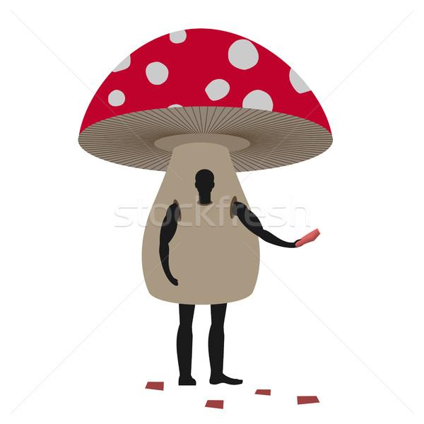 Cogumelo homem mascote masculino terno Foto stock © MaryValery
