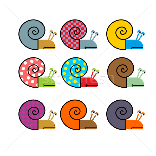Set of snail with colored shell. Vector illustration Stock photo © MaryValery