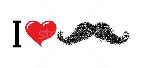 Amor bigode coração símbolo amantes logotipo Foto stock © MaryValery
