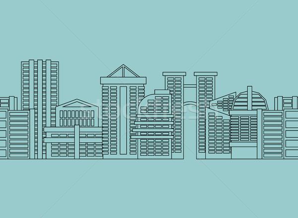 シームレス 水平な 飾り 市 高層ビル 建物 ストックフォト © MaryValery