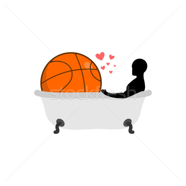 Lover Basketball. Man and ball in bath. Joint bathing. Passion f Stock photo © MaryValery