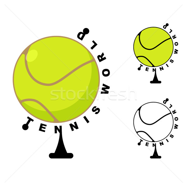 Tennis world. Game ball Globe. Sports accessory as earth sphere. Stock photo © MaryValery