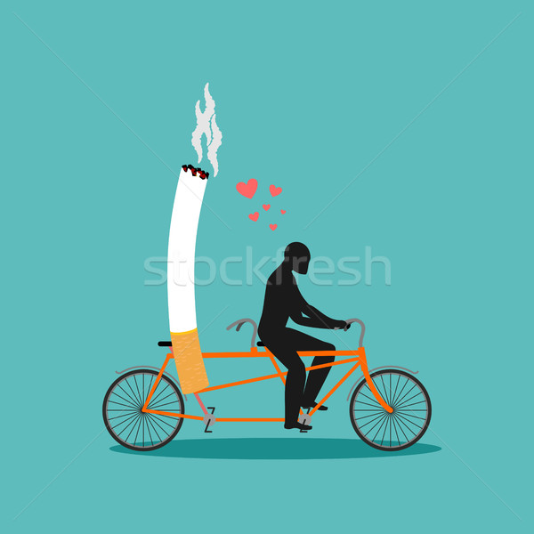 Lover smoke. Man and cigarette on bicycle. Smoker on tandem. Nic Stock photo © MaryValery
