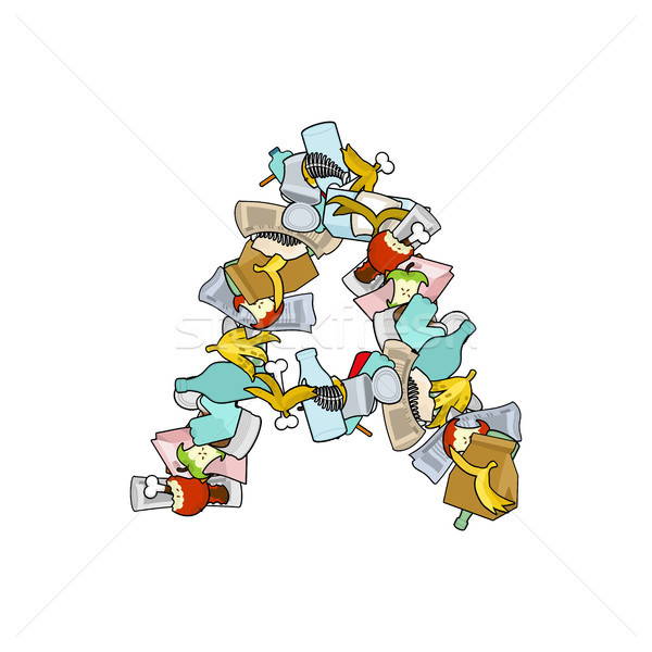 Letter A Rubbish. Trash font. garbage alphabet. Lettering litter Stock photo © MaryValery