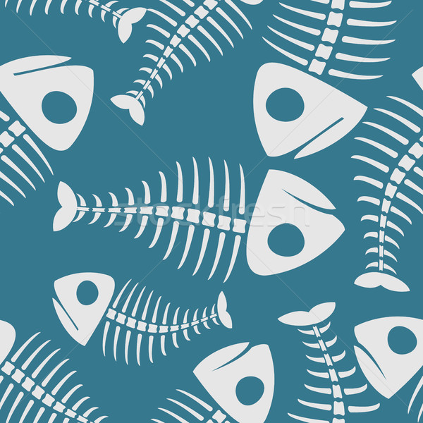 Fish bones seamless pattern. fishy Skeleton background Stock photo © MaryValery