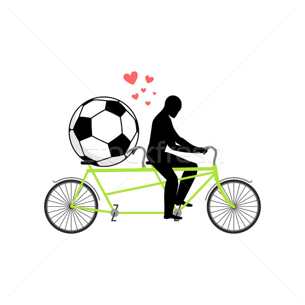 Stock photo: Lover Soccer. Guy and football ball on tandem. Lovers of cycling