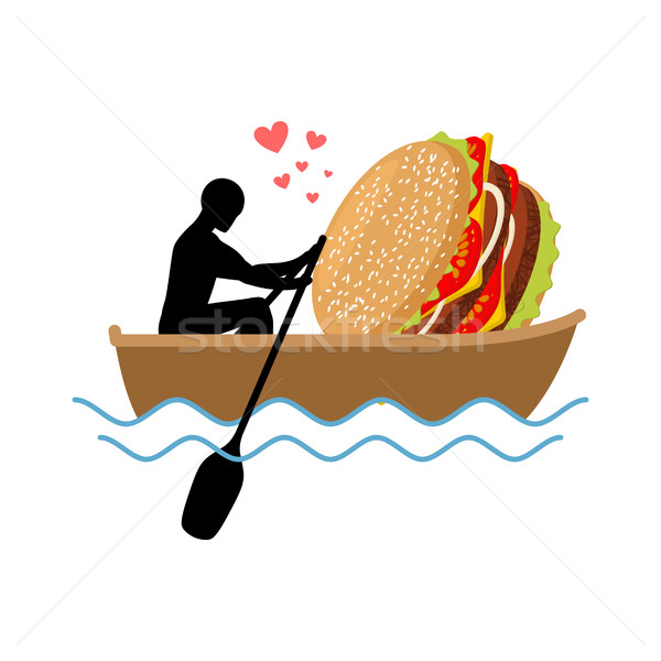lover fast food. Man and hamburger ride in boat. Guy and Burger. Stock photo © MaryValery