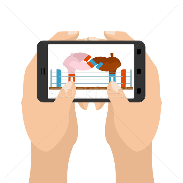 Boxing on tablet game. Sports in smartphone. hands hold gadget Stock photo © MaryValery