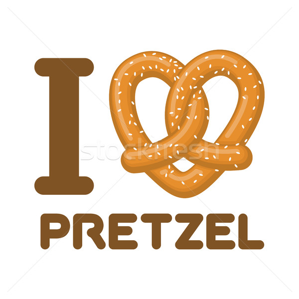 I Love pretzel. snack heart. Food lover sign. Traditional German Stock photo © MaryValery