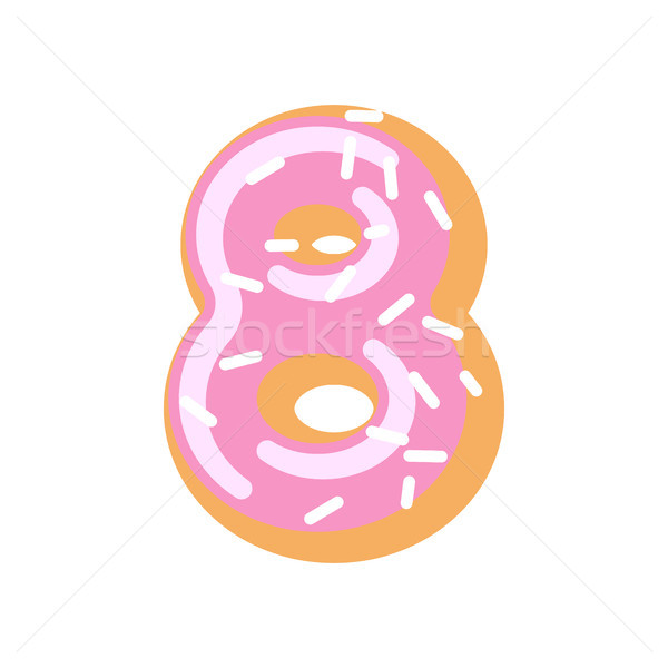 Number 8 donut. Doughnut font. Sweet alphabet. candy lettering.  Stock photo © MaryValery