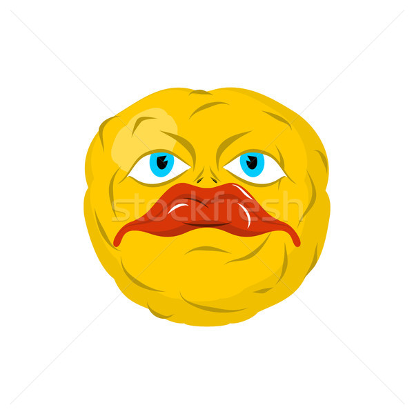 Sad emoticon. Crazy Emoji. Sorrowful emotion. Yellow ball head Stock photo © MaryValery