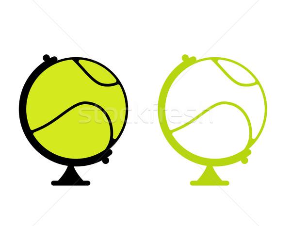 Balle de tennis monde monde jeu sport terre Photo stock © MaryValery