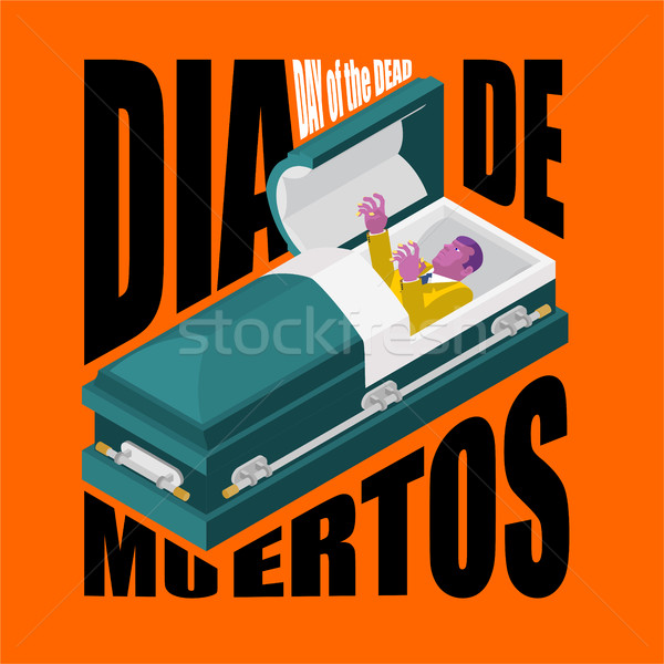 Day of the Dead. Open coffin. departed zombie in casket. Mexican Stock photo © MaryValery