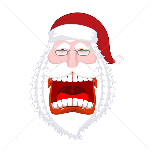 Crazy Santa Shout. Scary grandfather yelling. Open mouth and te Stock photo © MaryValery