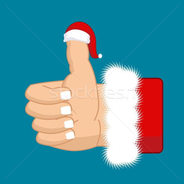 Like Santa. Thumb up. Symbol all right. success gesture. Red Chr Stock photo © MaryValery