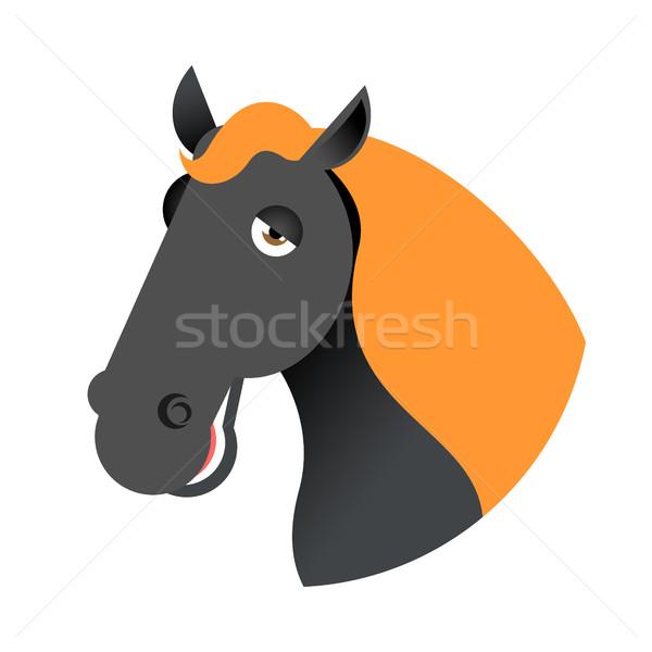 Czarny konia głowie kaganiec odizolowany biały Zdjęcia stock © MaryValery
