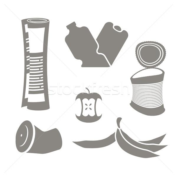 商业照片 / 矢量图: 垃圾 · 集 · 图标 · 采集 · 垃圾 / garbage