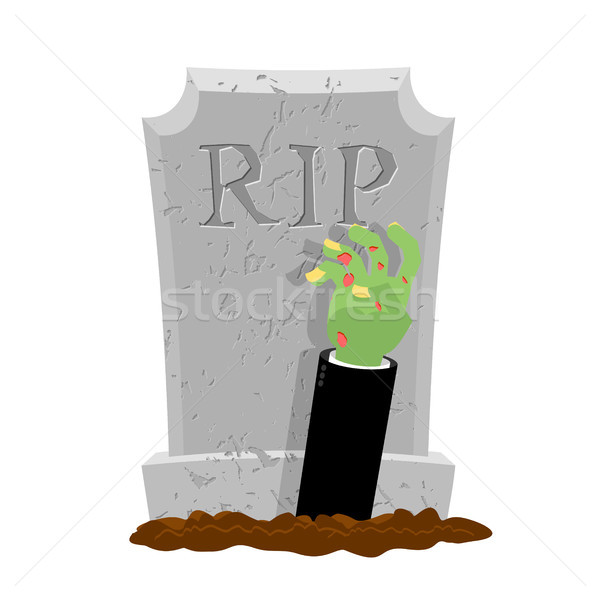 Halloween. Grave and hand of zombie. Gravestone and arm dead man Stock photo © MaryValery