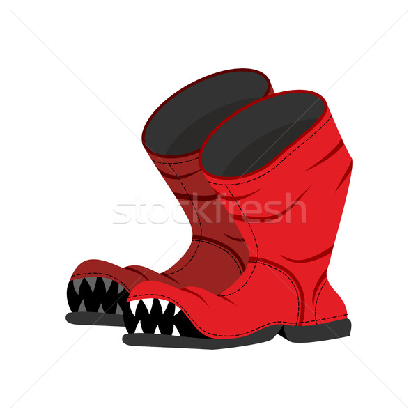 Broken boot with teeth. Old shoes with hole. Dreaded boot. Stock photo © MaryValery