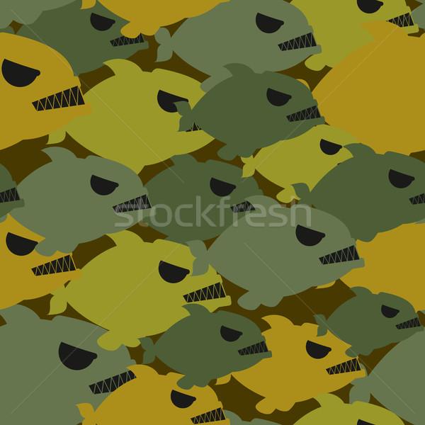 Armii wojskowych kamuflaż piranha tekstury żołnierzy Zdjęcia stock © MaryValery