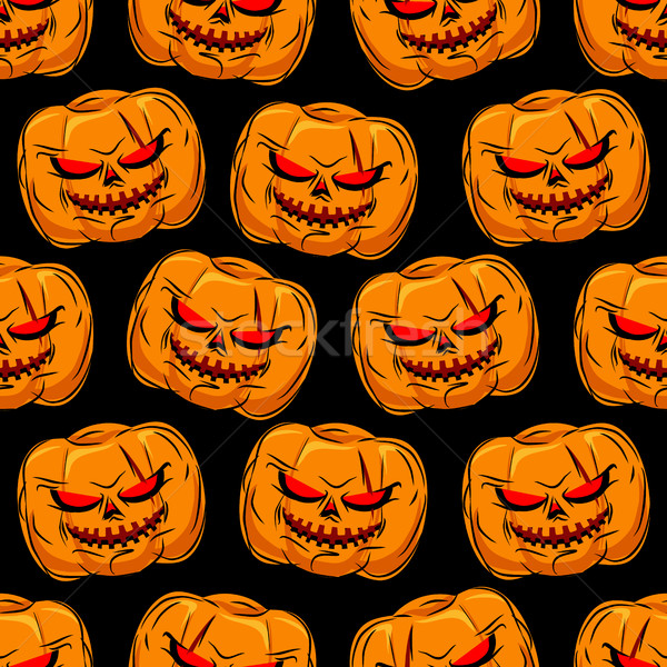 Scary pompoen halloween vector ornament Stockfoto © MaryValery