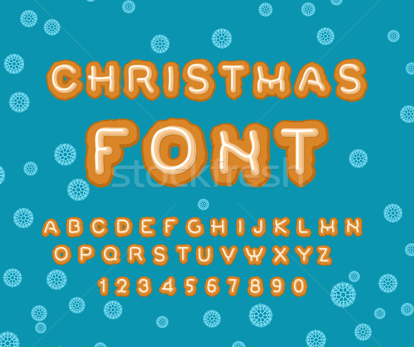 Christmas Gingerbread font. Holiday Cookies alphabet. ABC cookie Stock photo © MaryValery