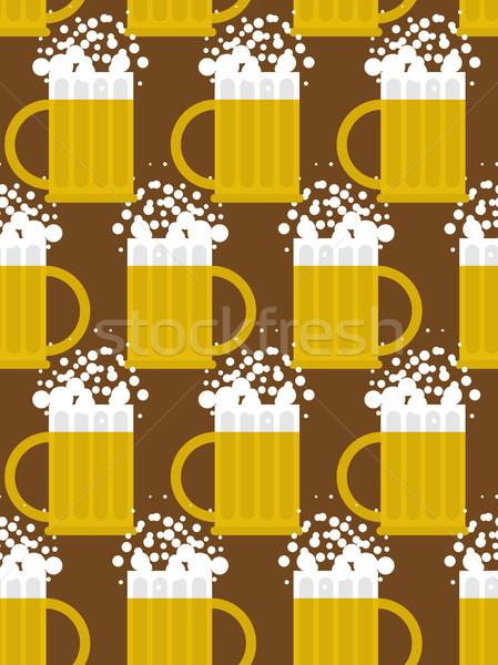 Beer seamless pattern. Beer mug vector background. Mug with foam Stock photo © MaryValery