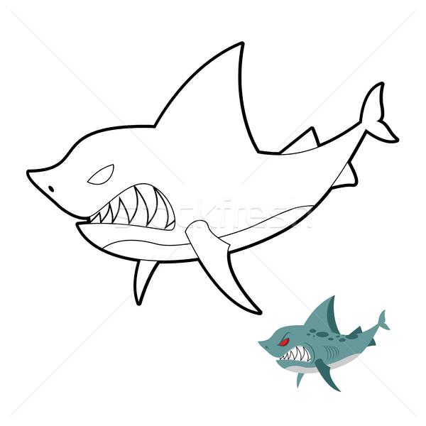 Köpekbalığı Boyama Kitabı Sualtı Hayvan Vektör Kitap
