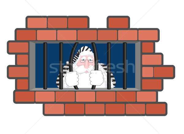 Santa Claus Jail. Window in prison with bars. Bad Santa criminal Stock photo © MaryValery