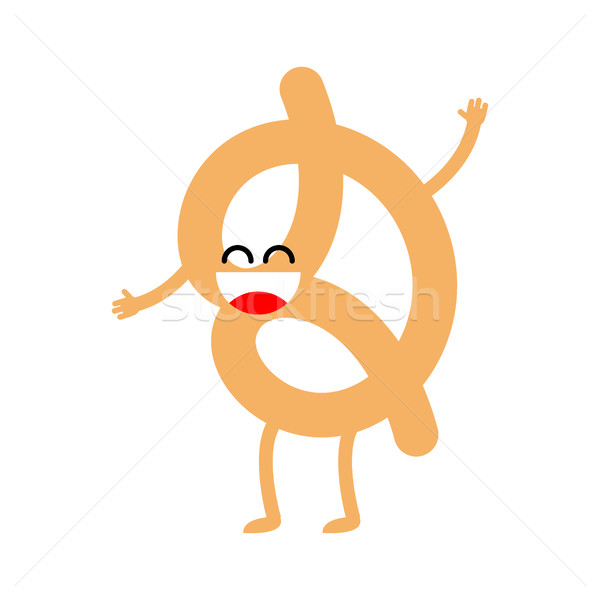 Funny Pretzel isolated. beer happy snack on white background.  F Stock photo © MaryValery