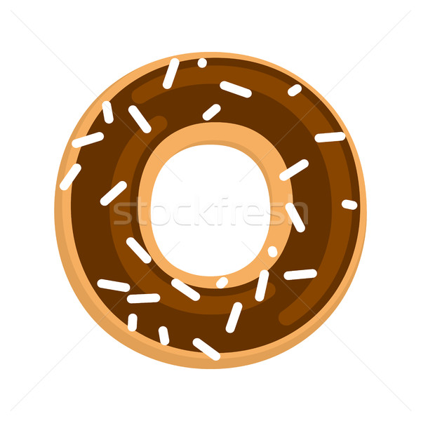 Chocolate donut isolated. cruller glaze  and sprinkling on white Stock photo © MaryValery