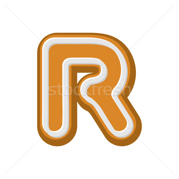 Letter R Gingerbread. Peppermint honey-cake font. Cookies alphab Stock photo © MaryValery