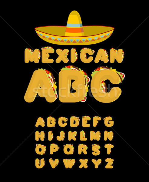 Mexican font. Tacos alphabet. Taco fast food ABC. traditional Me Stock photo © MaryValery