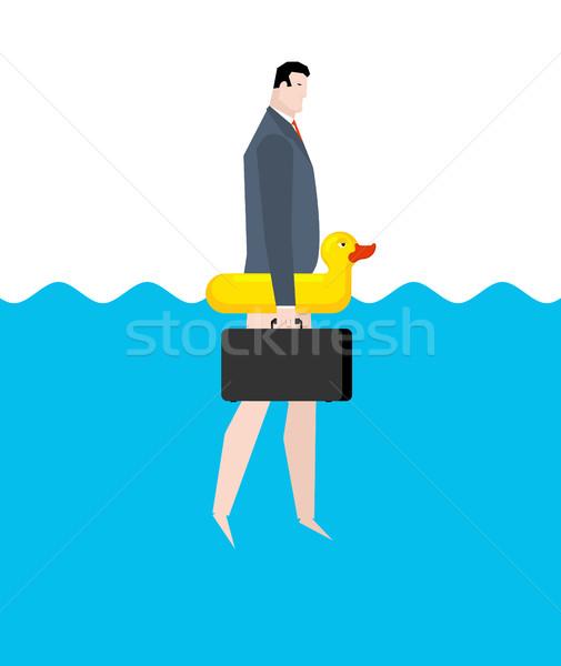 бизнесмен надувной утки менеджера отпуск морем Сток-фото © MaryValery