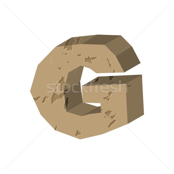 Letter G stone font. Rock alphabet symbol. Stones crag ABC sign Stock photo © MaryValery