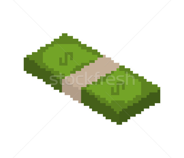 stack of money pixel art. pile of cash pixelated. Dollars isolat Stock photo © MaryValery