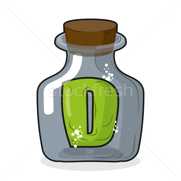 D in bottle. Green letter in blue glass jar. Magic potion bottle Stock photo © MaryValery
