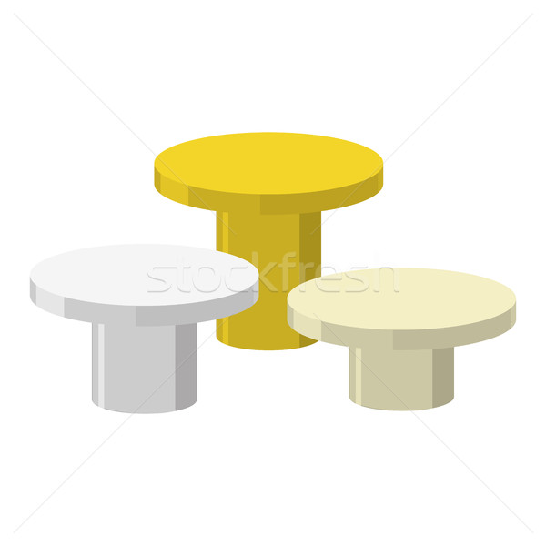 Stock photo: Sports Round podium on a white background. Three prizes: gold, s