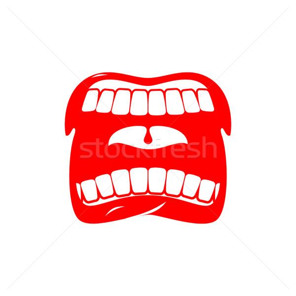 открытых рот изолированный сообщение Scream языком Сток-фото © MaryValery