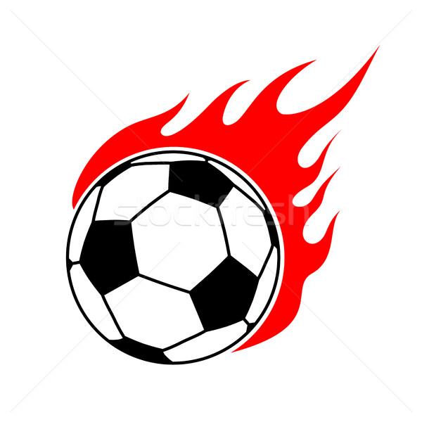 Fire soccer ball. Flame football. Emblem game sport team Stock photo © MaryValery