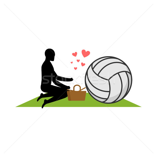 Lover volleyball. Guy and ball on picnic. Meal in nature. blanke Stock photo © MaryValery