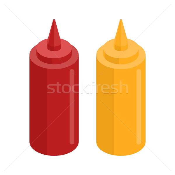 Mustard and ketchup bottle for fast food. Food isolated Stock photo © MaryValery