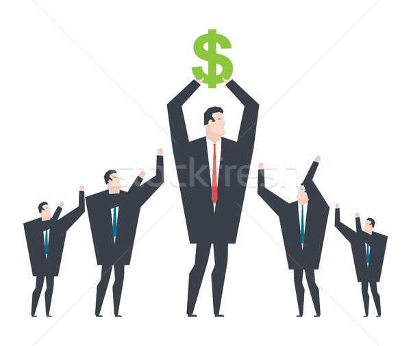 Business winner. Receiving profit. businessman holds dollar in h Stock photo © MaryValery