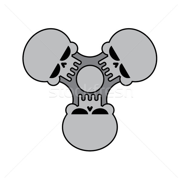Spinner skull isolated. Bones Fidget finger toy. Halloween Anti  Stock photo © MaryValery